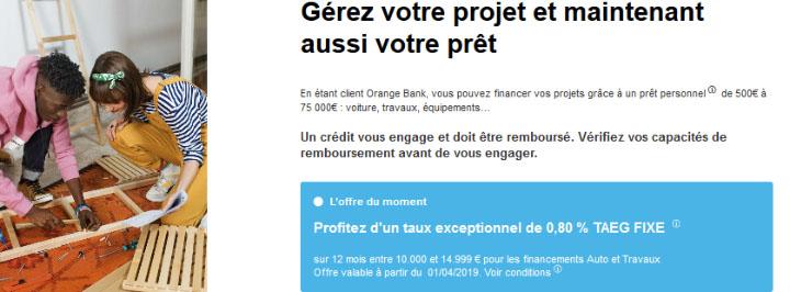 Orange Bank avis crédit consommation