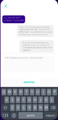 Chat en ligne avec le support client Lovys
